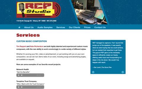 Screenshot of Services Page repstudio.com - REP Studio Ithaca NY - captured Oct. 20, 2018