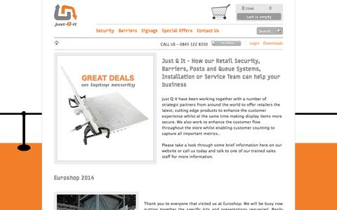 Screenshot of Home Page just-q-it.co.uk - Just Q It | Retail Security I Barrier Solutions | Retractable Barriers | Microlift | Post and Rope | just-Q-it - captured Sept. 30, 2014