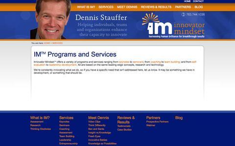 Screenshot of Services Page innovatormindset.com - Innovator Mindset :: Innovation Programs and Services - captured Oct. 6, 2014