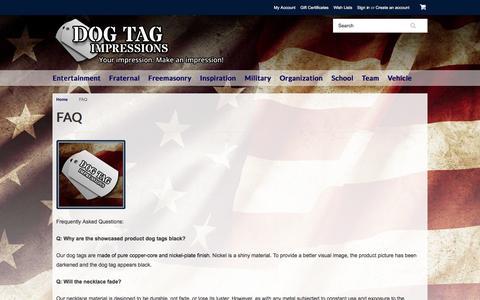 Screenshot of FAQ Page dogtagimpressions.com - Dog Tag Impressions FAQ - captured Jan. 7, 2016