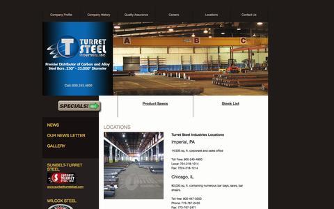 Screenshot of Locations Page turretsteel.com - Locations - Turret Steel Industries - captured Dec. 2, 2016