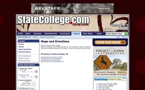 Screenshot of Maps & Directions Page statecollege.com - State College, PA - Maps and Directions - captured Feb. 13, 2016