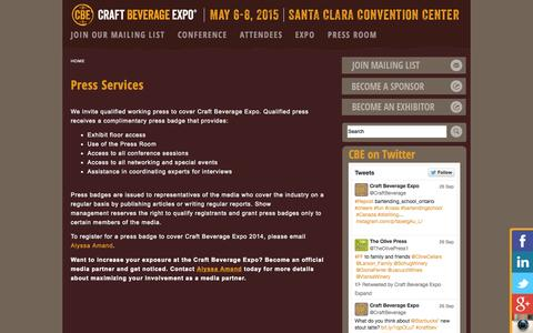 Screenshot of Press Page craftbeverageexpo.com - CRAFT BEVERAGE CONFERENCE EXPOSITION WINE BEER SPIRITS POST PRODUCTION MARKETING DISTRIBUTION TRADE SHOW TRADESHOW | craftbeverageexpo.com - captured Sept. 30, 2014
