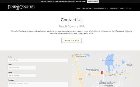 Screenshot of Contact Page fineandcountry.com - Contact Us - captured Sept. 8, 2016