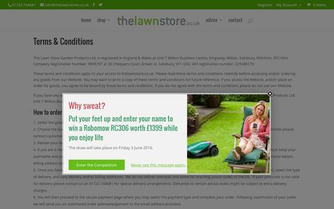 Screenshot of Terms Page thelawnstore.co.uk - Terms & Conditions | The Lawn Store - captured April 5, 2016