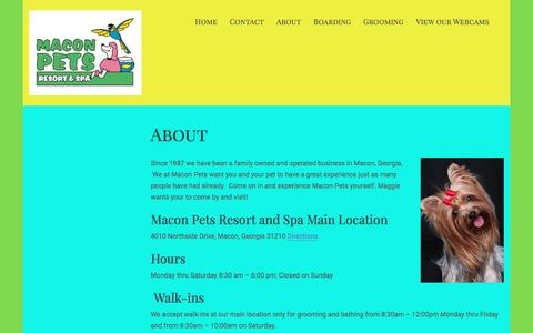 Screenshot of About Page maconpet.com - About – Macon Pet Resort and Spa - captured July 4, 2018