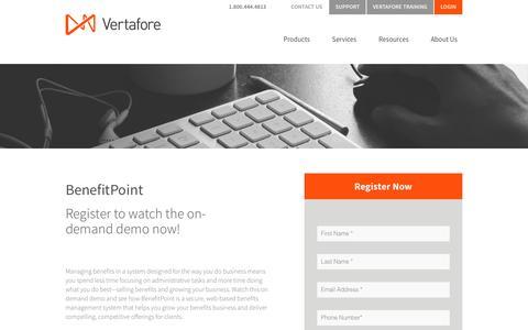 Screenshot of Landing Page vertafore.com - Vertafore - BenefitPoint Demo - captured Aug. 20, 2016