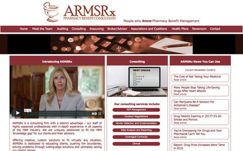 Screenshot of Home Page armsrx.com - ARMSRx Pharmacy Benefit Consulting, Drug plans, Discount Cards, Rx - captured May 16, 2017