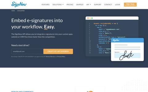 Screenshot of Developers Page signnow.com - SignNow API: Developer Center, Guides and Support - captured Aug. 8, 2019