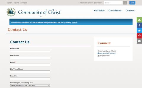 Screenshot of Contact Page cofchrist.org - Contact us - captured Sept. 23, 2018
