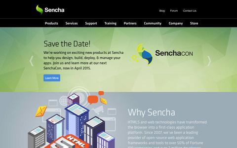 Screenshot of Home Page sencha.com - HTML5 App Development for Desktop and Mobile. JavaScript Frameworks and Dev Tools from Sencha. | Home | Sencha - captured Oct. 10, 2014