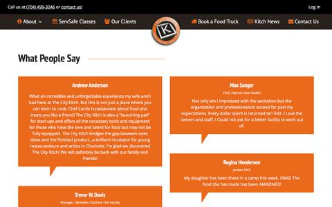 Screenshot of Testimonials Page thecitykitch.com - What People Say - The City Kitch - captured Sept. 21, 2018