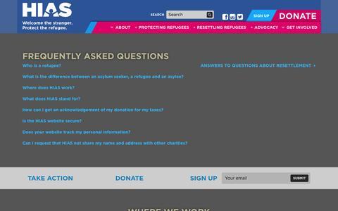 Screenshot of FAQ Page hias.org - HIAS FAQ | HIAS - captured Sept. 26, 2014
