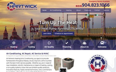 Screenshot of Home Page hartwickac.com - AC Service St. Augustine, AC Repair Crescent Beach | Air Conditioning St Augustine Beach & Vilano Beach | HVAC Butler Beach & Ponte Vedra - captured Jan. 26, 2016