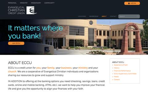 Screenshot of About Page eccu.org - About ECCU | Evangelical Christian Credit Union - captured July 9, 2016