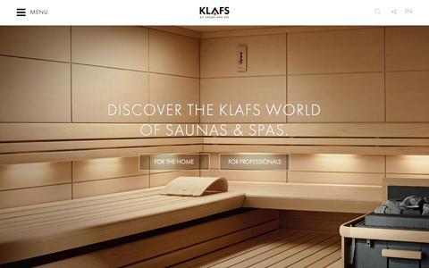 Screenshot of Home Page klafs.com - KLAFS saunas, steam baths, infrared heat cabins, spas and well-being - captured Sept. 6, 2015