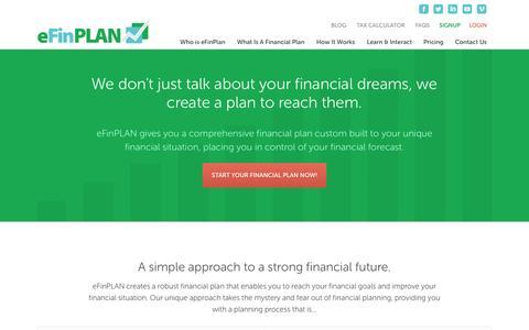 Screenshot of Signup Page efinplan.com - Online Financial Planning Software | eFinPLAN - captured Sept. 23, 2014