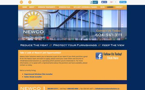 Screenshot of Jobs Page newcosolarsolutions.ca - Job Opportunities   Careers   Newco Solar Solutions - captured June 13, 2017