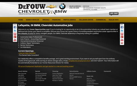 Screenshot of Jobs Page defouw.com - BMW, Chevrolet Lafayette, IN | Automotive Dealership Careers & Jobs at DeFouw Auto Group - captured Oct. 5, 2014