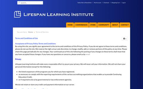 Screenshot of Terms Page lifespanlearn.org - Lifespan Learning Institute - Terms of Service - captured Jan. 30, 2016