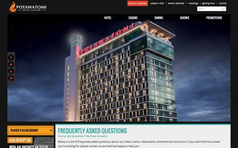 Screenshot of FAQ Page paysbig.com - Frequently Asked Questions | Potawatomi Hotel & Casino - captured Sept. 19, 2014