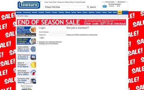 Screenshot of Login Page towsure.com - Welcome to Towsure - Discount Camping and Caravanning Equipment, EC Approved Towbars, Trailers and Trailer Parts from Towsure - captured Sept. 22, 2014