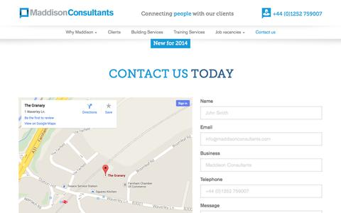 Screenshot of Contact Page maddisonconsultants.co.uk - Contact | Maddison Consultants - captured Oct. 3, 2014