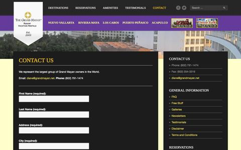 Screenshot of Contact Page grandmayan.net - Contact us - GRAND MAYAN, Voted the Best Resorts in Latin America, Mexico - captured Feb. 2, 2016