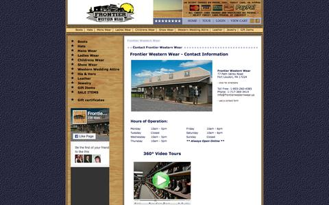 Screenshot of Contact Page Hours Page frontierwesternwear.us - Frontier Western Wear - captured June 19, 2016