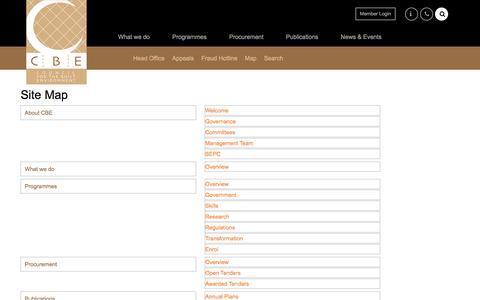 Screenshot of Site Map Page cbe.org.za - CBE - Site Map - captured Sept. 3, 2017