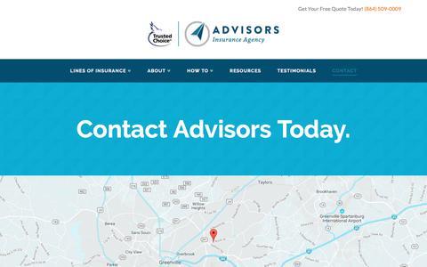 Screenshot of Contact Page advisorsinsuranceagency.com - Contact - Advisors Insurance Agency - captured May 29, 2017
