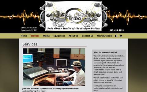 Screenshot of Services Page fullcirclestudiohudsonvalley.com - Recording Studio Services | Mastering CD's | Business Presentations - captured Oct. 11, 2018