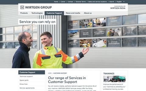 Screenshot of Support Page wirtgen-group.com - Our range of Services in Customer Support - WIRTGEN INDIA - captured Oct. 21, 2017