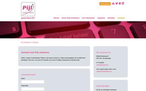 Screenshot of Contact Page pijlsolutions.nl - Contact opnemen met Pijl solutions - Pijl solutions: Groei door ICT. - captured Sept. 28, 2018