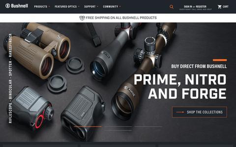Screenshot of Home Page bushnell.com - Bushnell - Performance Scopes, Binoculars, Sports Optics - captured Feb. 27, 2019