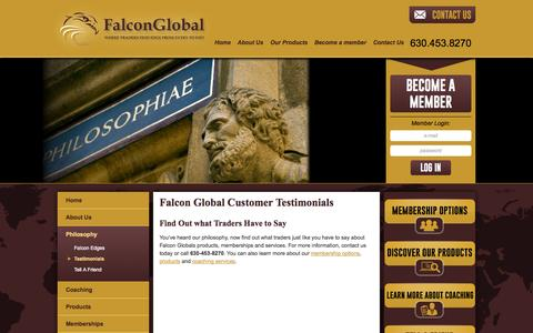 Screenshot of Testimonials Page falconglobaltraders.com - Testimonials About Our Online Stock Trading Courses | Falcon Global - captured Oct. 5, 2014