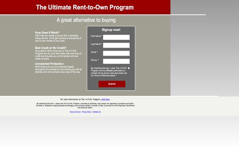 Screenshot of Landing Page pagewiz.net - Rent to Own Homes - captured April 5, 2016