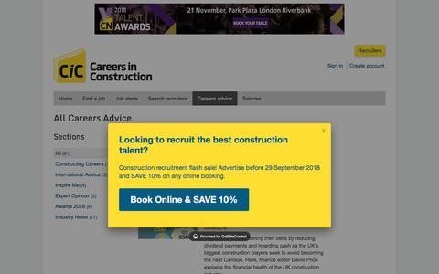 Screenshot of Jobs Page careersinconstruction.com - Articles and careers information on CareersInConstruction.com - captured Sept. 22, 2018