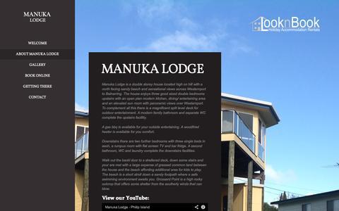 Screenshot of About Page manukalodge.com.au - Manuka Lodge     Manuka Lodge   Phillip Island - captured Oct. 28, 2014