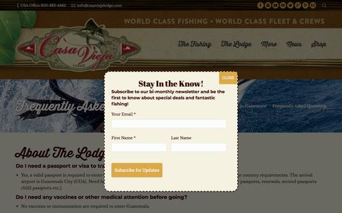 Screenshot of FAQ Page casaviejalodge.com - Frequently Asked Questions - Casa Vieja Lodge & Sportfishing Fleet - captured July 16, 2018