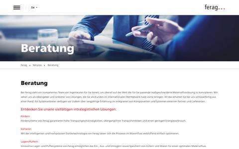 Screenshot of Services Page denipro.com - Beratung | Ferag AG - captured Oct. 8, 2018