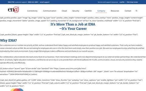 Screenshot of Jobs Page ena.com - ENA Careers - captured Nov. 13, 2019