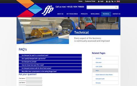 Screenshot of FAQ Page ffppkg.co.uk - FAQ's - captured Oct. 5, 2014