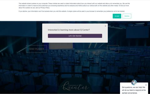 Screenshot of Home Page qcenter.com - Q Center | Chicago Conference Center - Chicago Event Venues - captured Oct. 7, 2019