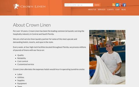 Screenshot of About Page crownlinen.net - About Crown Linen Commercial Laundry Service in Florida - captured Aug. 31, 2017