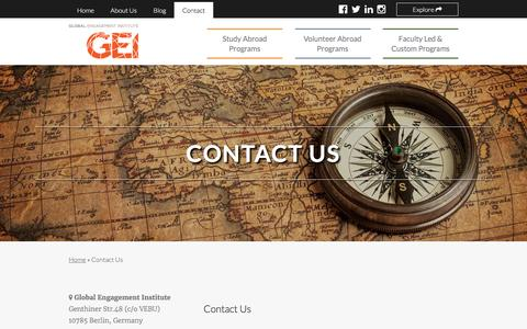 Screenshot of Contact Page global-engagement.org - Contact Us // Global Engagement Institute (GEI) - captured Nov. 7, 2016
