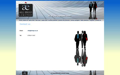 Screenshot of Contact Page allergo.co.uk - Contact All Ergo Limited - Ergonomic Chairs and Ergonomic Accessories - captured Oct. 4, 2014