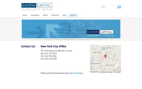 Screenshot of Contact Page eastoncapital.com - Contact - Easton Capital - captured Oct. 1, 2014