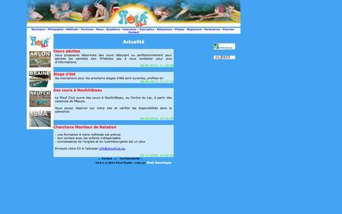 Screenshot of Press Page ploufclub.be - Plouf Club - stages de natation pour enfants - bruxelles - arlon - belgique - captured Oct. 28, 2014