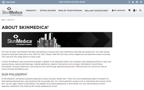 Screenshot of About Page skinmedica.com - About Us - captured Aug. 27, 2016